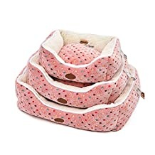 Elite Cute Polka Dot Square Pet Bed for Dogs and Cats Winter Warm Thick Fleece Removable Easy Clean Cover, Large, Pink