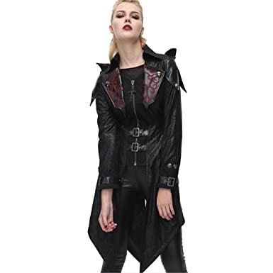 2563a137 Steampunk Gothic Hooded Women Leather Jackets Autumn Winter Punk Fashion  Long Coats