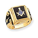 14k Gold Mens Masonic Ring - Size 10