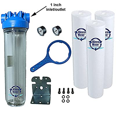 Whole House Water Filtration System, KleenWater Premier 4520 Water Filter, Dirt Rust Sediment Removal Cartridges