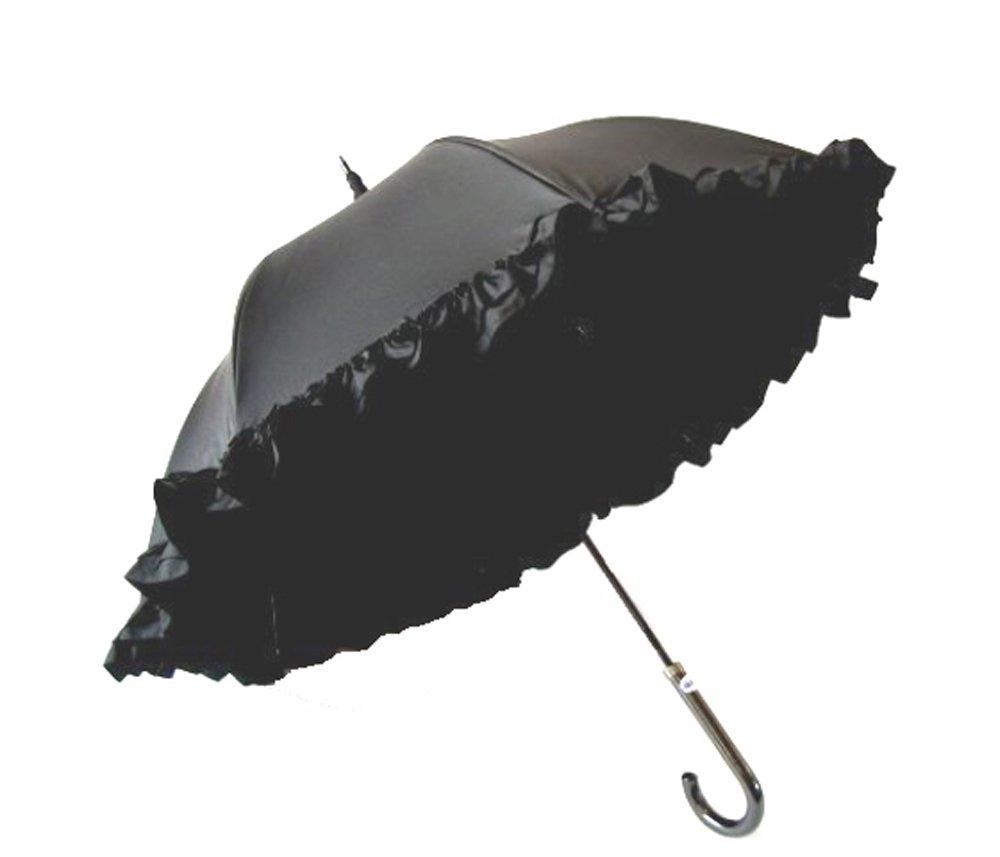 クラシコ 遮光100% 晴雨兼用 日傘 uvカット 100% 遮光 遮光 UVカット 紫外線カット 紫外線対策 清涼効果 コーティング 二重生地 ダブルフリル 傘 かさ カサ レディース パゴダ パゴダタイプ ピンク ブラック ベージュ パープル B06Y61Q11W 03 ブラック×ブラック 03 ブラック×ブラック