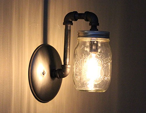 Industrial Rustic Mason Jar Wall Sconce Light Fixture - 4 Pack ...