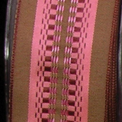 Brown Taffeta with Pink Woven Print Wired Craft Ribbon 1.5
