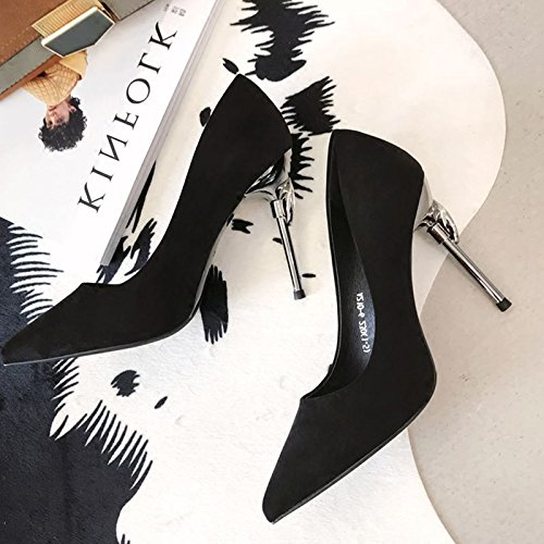 Leisure 10Cm 37 Fine Elegant Single Night Sexy Drill Heels Sharp Lady MDRW Heel Water Shop Shoe Shallow Spring Heel Work Black Z5qxtwB8nR