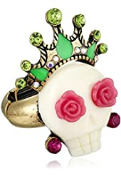 "Betsey Johnson ""Caribbean Queen"" Skull Stretch Ring, Size 7"