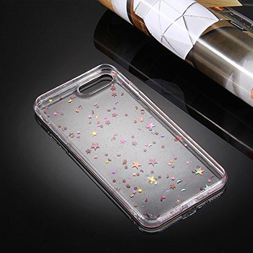 Pour iPhone 7 Plus Transparent Stars Moon Glitter Powder Soft TPU Housse de protection JING