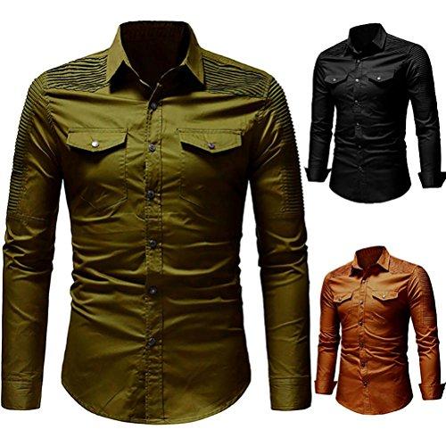 Yuxikong Mens' Coat,Casual Slim Fit Button Shirt with Pocket Long Sleeve Tops Blouse (Green, XL) by Yuxikong (Image #4)