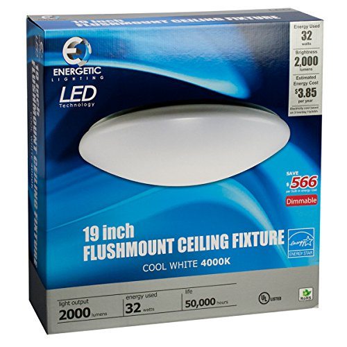 Flush Mount LED 19 inch Downlight 32 Watt Dimmable (150W Equiv) 2000 Lumens by Energetic Lighting (Shadow Quick Mount)