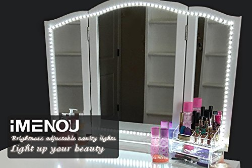 LED Vanity Mirror Lights Kit,iMENOU Hollywood 16.4ft LED Strip Lights for Vanity Mirror with Lights Dimmer&Power Supply,Dimmable Vanity Lights for Mirror Bathroom Makeup table(Soft Daylight White) from iMENOU