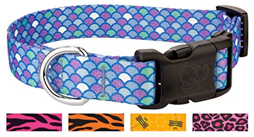 Country Brook Petz - Deluxe Mermaid Scales Dog Collar - Large
