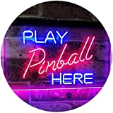 AdvpPro 2C Pinball Room Play Here Display Game Man Cave Décor Dual Color LED Neon Sign Blue & Red 12'' x 8.5'' st6s32-i2619-br