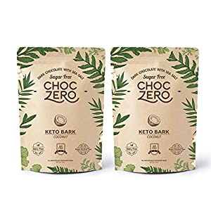 Well-Being-Matters 51B5lH%2BcI6L._SS300_ ChocZero's Keto Bark, Dark Chocolate Coconuts with Sea Salt. Sugar Free, Low Carb. No Sugar Alcohols, No Artificial…