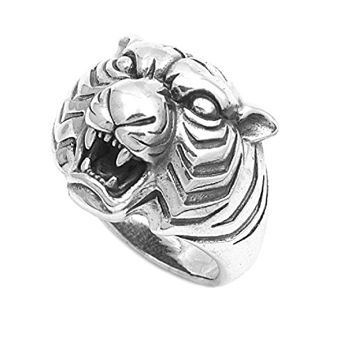 925 Sterling Silver Tiger Head Ring Size (925 Sterling Silver Tiger)