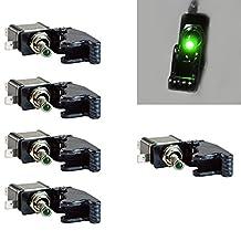 Etopars™ 5 X 12V 20A Carbon Fiber Cover Green LED Light Rocker Toggle Switch SPST ON/OFF Car Vehicle Boat