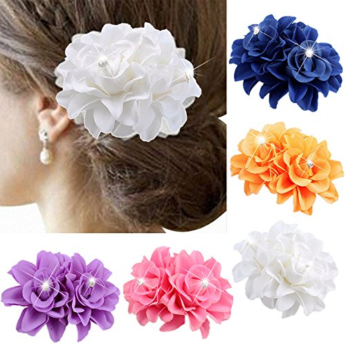 Wcysin 5 Pack Flower Brooch Floral Hair Clips for Women Rose Hair Accessories Wedding