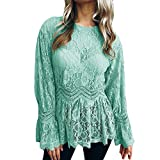 Farjing Womens Long Sleeve Lace Fashion O-Neck Bllouse T-Shirt Blouse Tank Tops(M,Green)