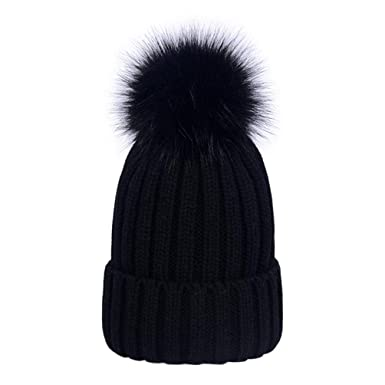 Lau s Boys Girls Faux Fur Pom Pom Hat Cap Warm Knit Winter Beanie Bobble  Hats Black 8e844d42573