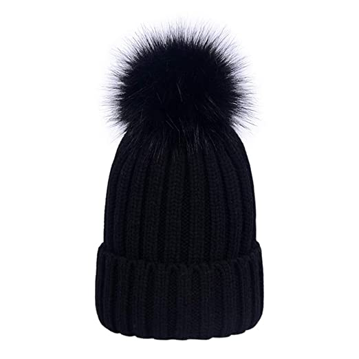 Lau s Boys Pom Pom Hat Kids Warm Knitted Winter Beanie Hats for Girls Black 7b0476797be