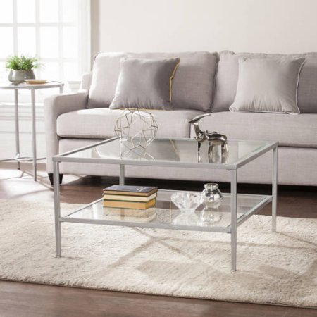 Southern Enterprises Kaari Square Metal/Glass Open Shelf Coffee Table (Metal Coffee Table Unfinished)