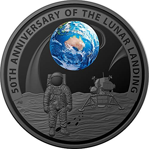 - 2019 AU Modern Commemorative PowerCoin MOON LANDING 50th Anniversary Dome 1 Oz Silver Coin 5$ Australia 2019 Proof