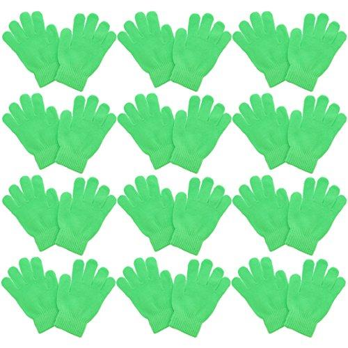 Magic Gloves Childrens (Kids Gloves Magic Knit for Girls/Boys   Set of 12   Neon Green)