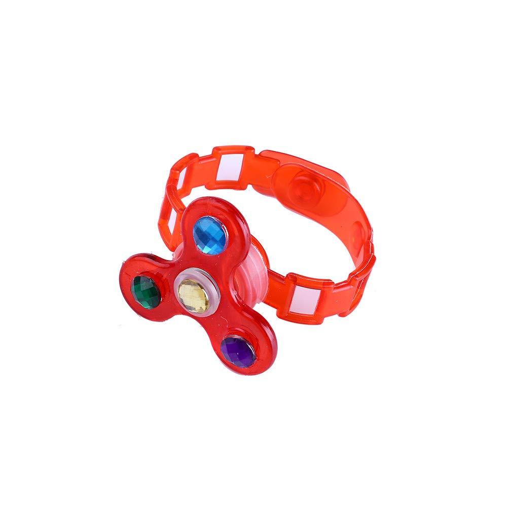 BOLUOYI 子供用 発光リストバンド 手動回転 ソフトプラスチック フラッシュ ジャイロ ブレスレット 子供への誕生日プレゼント レッド toy149 B07L84PMKG レッド