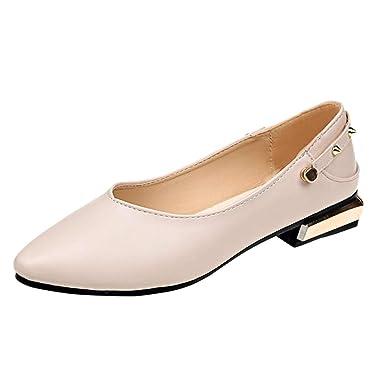 Damen Riemchen Ballerina Flache Pumps Flats Halbschuhe Sommer Slip On Schuhe
