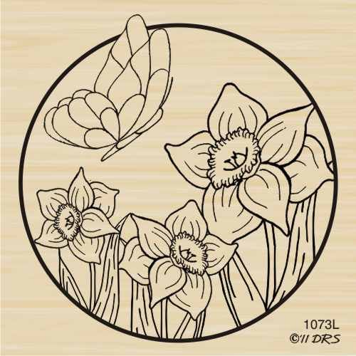(Daffodil Butterfly Circle Rubber Stamp By DRS Designs)