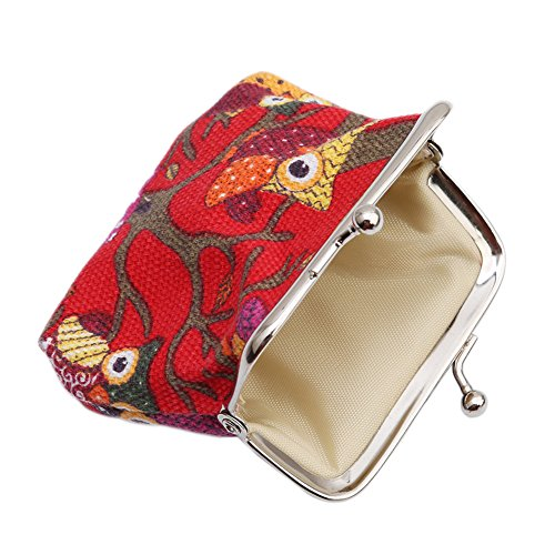 Red Wallet Purse Women's Small Gluckliy Coin Owl Lady Clutch Lovely Handbag Purse Vintage Bag awOqddIY