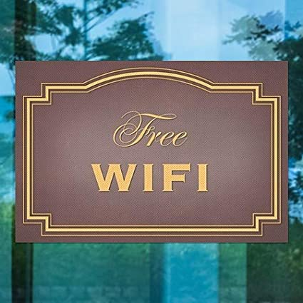 5-Pack Free WiFi CGSignLab Classic Brown Perforated Window Decal 30x20