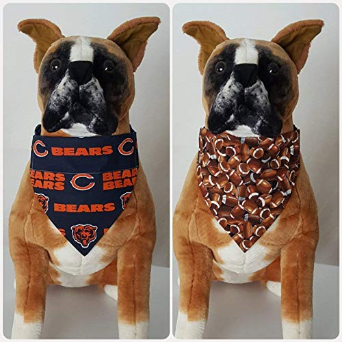 dcd6eeeae74 Amazon.com: Reversible Bandana, Made With NFL Chicago Bears Fabric,  Football, Scarf, Cat, Dog,Slip On Over The Collar, (Does Not Tie) 2 in one:  Handmade