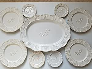 """White Ceramic Serving Platter with Monogrammed Center Initial """"N"""", 4 Desert Plates AND FREE Bonus 4 Accent Plates - Mud Pie"""