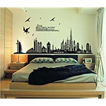 ufengke® Black City Silhouette Cityscape Skyscraper Wall Decals, Living Room Bedroom Removable Wall Stickers Murals