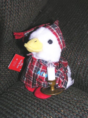 Macys 2007 6  Plush Aflac Holiday Duck With Candle That Lights Up