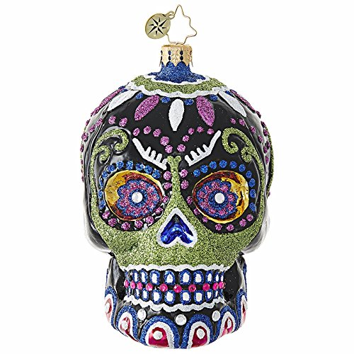 Christopher Radko Drop Dead Gorgeous Skeleton Head Themed Glass Ornament]()