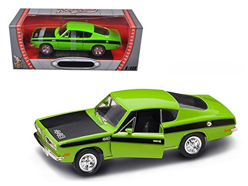 Road Signature 1969 Plymouth Barracuda, Green with Black Hood 92179 - 1/18 Scale Diecast Model Toy Car