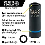 Klein Tools 66001 2-in-1 Impact Socket, 12-Point, 3/4 and 9/16-Inch