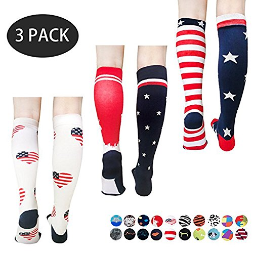 - Compression Socks For Men & Women – Best For All Sports,Travel, Nurse - 20-25 mmHg (S/M,L/XL, American Flag,3 Pairs (S/M,Men - 5-9.5 Women - 5.5-9))