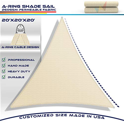 Windscreen4less A-Ring Reinforcement Large Sun Shade Sail 20 x 20 x 20 Equilateral Triangle Super Heavy Duty Strengthen Durable 260GSM -Galvanized Cable Enhanced – Beige 7 Year Warranty
