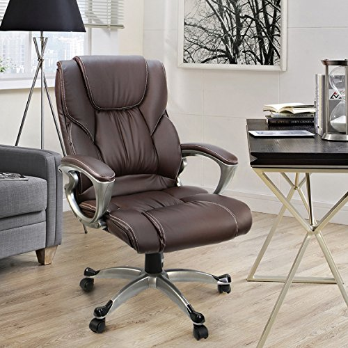 fice Chair With PU Leather Back Support BigTall High Back puter Desk Chair Brown