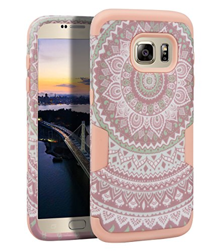 - Galaxy S6 Case, S6 Case - SKYLMW [ Shock Resistant Series ] Hybrid Rubber Case Cover for Samsung Galaxy S6 3in1 Hard Plastic +Soft Silicone Mandala Rose Gold