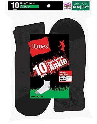 Hanes Boys Red Label Cushion Ankle P10(Medium/Black) (Hanes Boys Red Label)