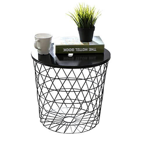 Price comparison product image XIAOYAN End Table Modern Small Line Side Table Metal End Table Storage Compartment with Lift Off Tray Top(Black-4142cm) Multifunction