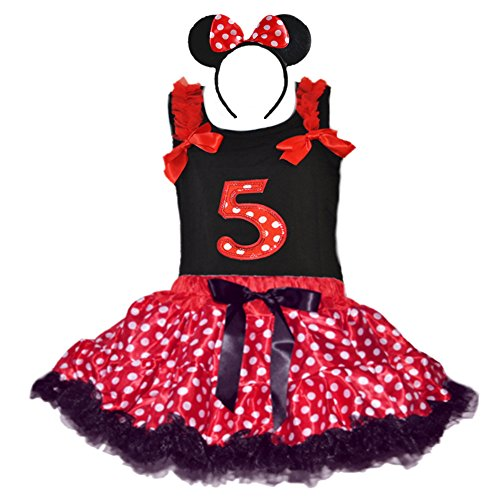 Birthday Girl's Polka Dot Tutu Sequin Age Number Tank-top & Headband Outfit Set (Age 5-RWBK) -