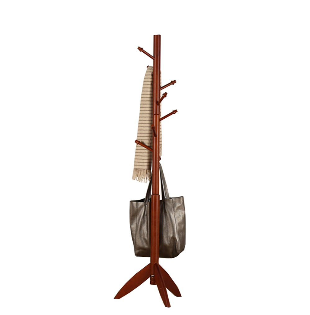 Full solid wood coat rack floor / bedroom hanging hanger, the main rod diameter 60mm / modern simple European clothing shelves (480 1750mm) ( Color : Brown )