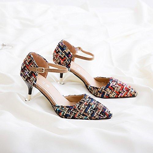 yalanshop Top Gris Singles Fines polyvalentes Shoes 34 Heel Lisses Femmes 7 High Chaussures et of cm et qqSdCwr