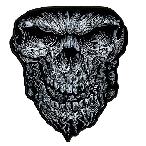 Giant Skull Emroidered Jacket Vest [10 x 11 Inches] Biker Patch