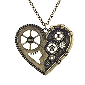 Lux Accessories Burnished Gold Vintage Steampunk Gearwork Heart Charm Necklace