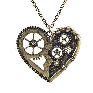 Lux Accessories Burnish Gold Vintage Steampunk Gearwork Heart Charm Necklace