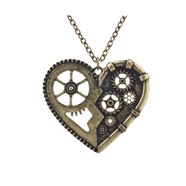 Lux Accessories Burnished Vintage Steampunk Gearwork Heart Charm Necklace 3